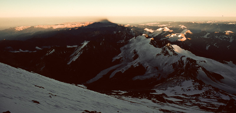 Sunrise from 22,500 feet on Mt. Aconcagua, highest in the Western hemisphere